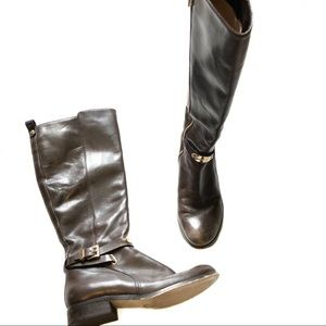Michael Kors Arley Riding Boots Dark Brown